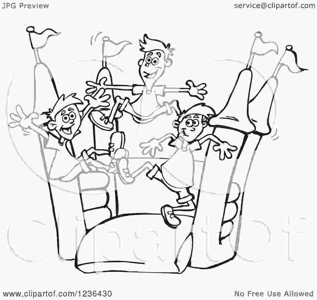 bouncy castle coloring pages clipart of black and white boys jumping on a castle bouncy