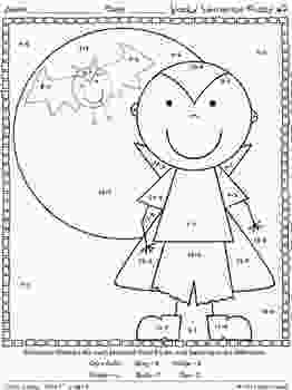 coloring sheets 1st grade spooky subtraction math printables color by the code