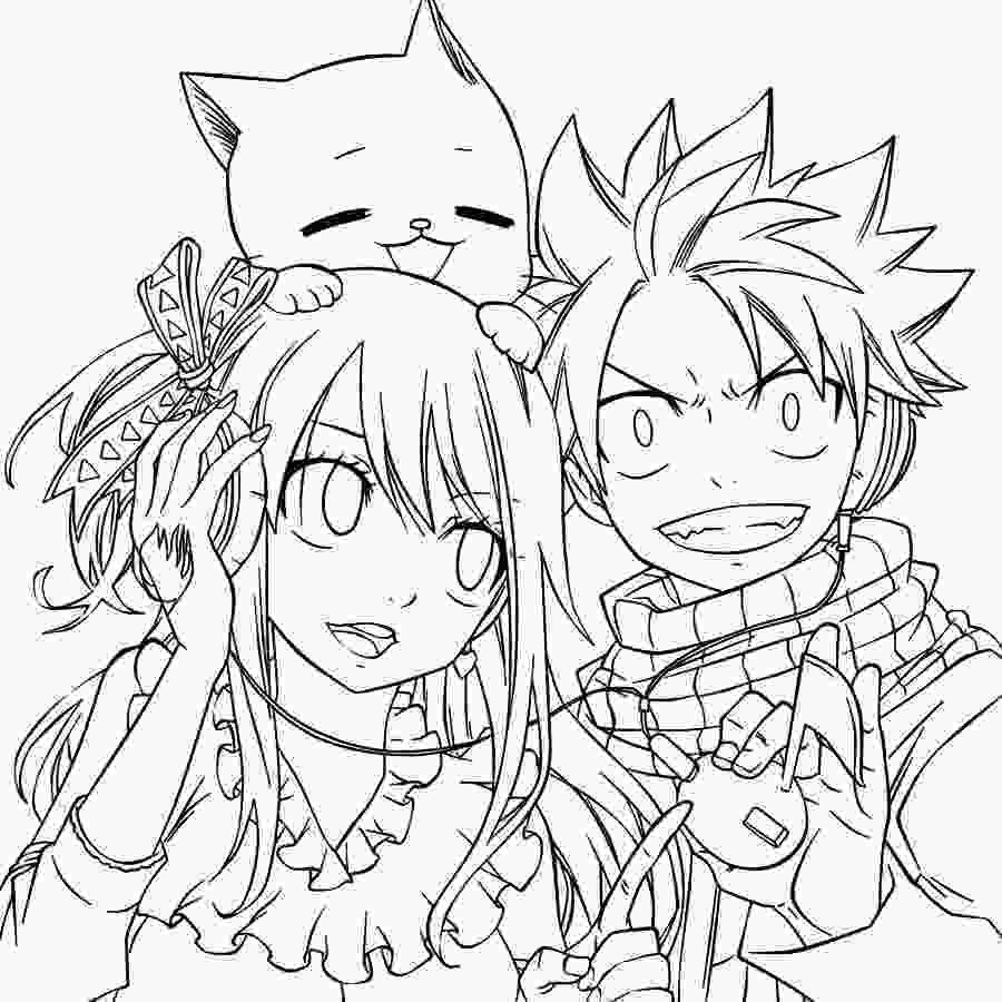 fairy tail colouring pages nalu and happy line art by starfiregrace1998 on deviantart