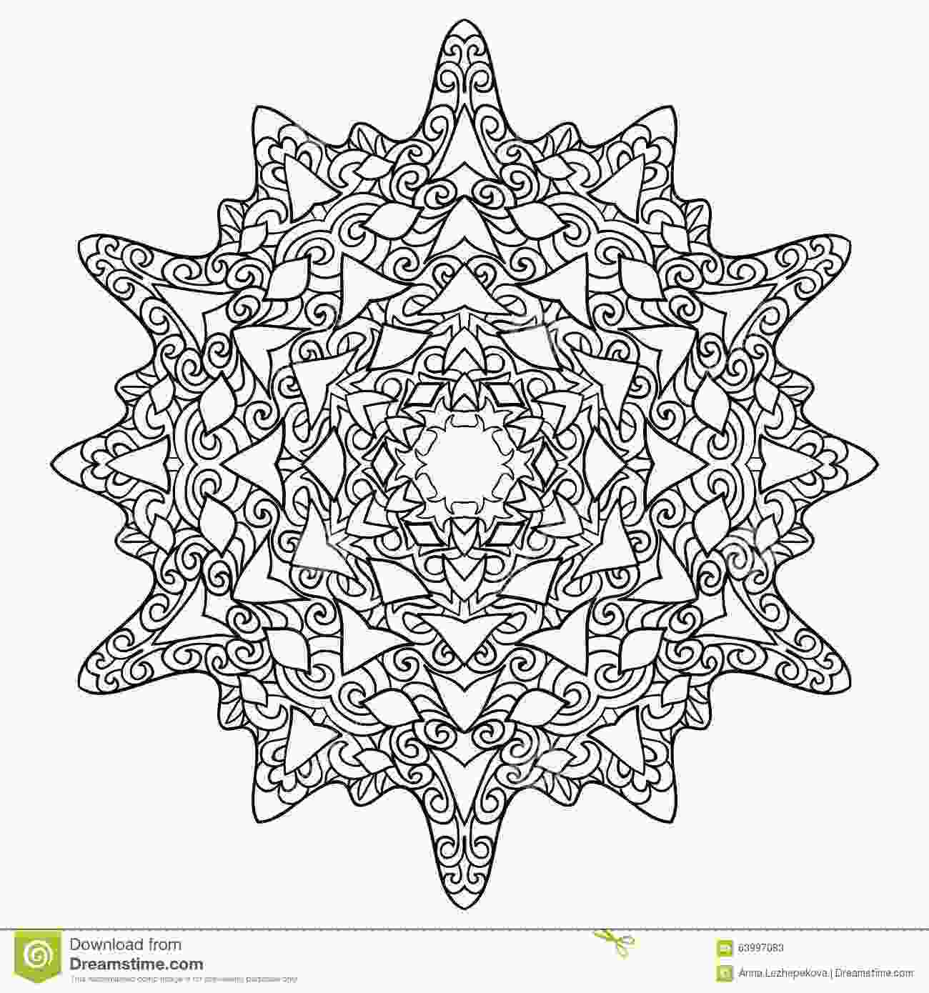 snowflake coloring pages for adults hand drawn antistress snowflake stock vector image