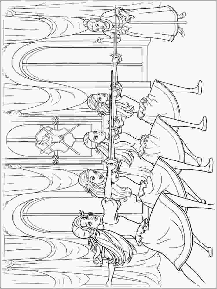 three girls coloring page barbie and the three musketeers coloring pages free 4