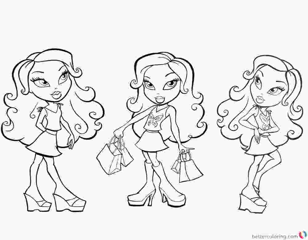 three girls coloring page bratz coloring pages three girl dolls colouring sheet