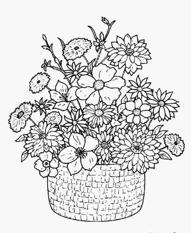 flower color page detailed flower coloring pages to download and print for free 1