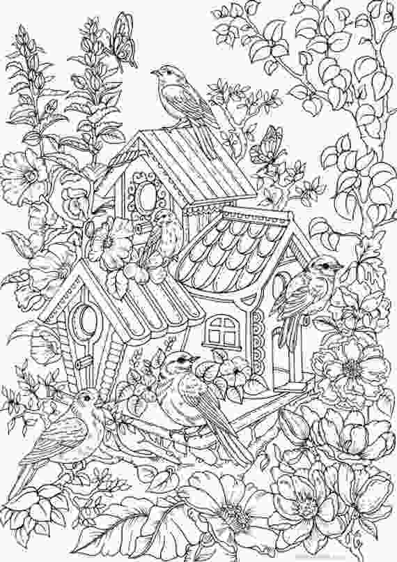 flower nature coloring pages birdhouse printable adult coloring page from favoreads etsy