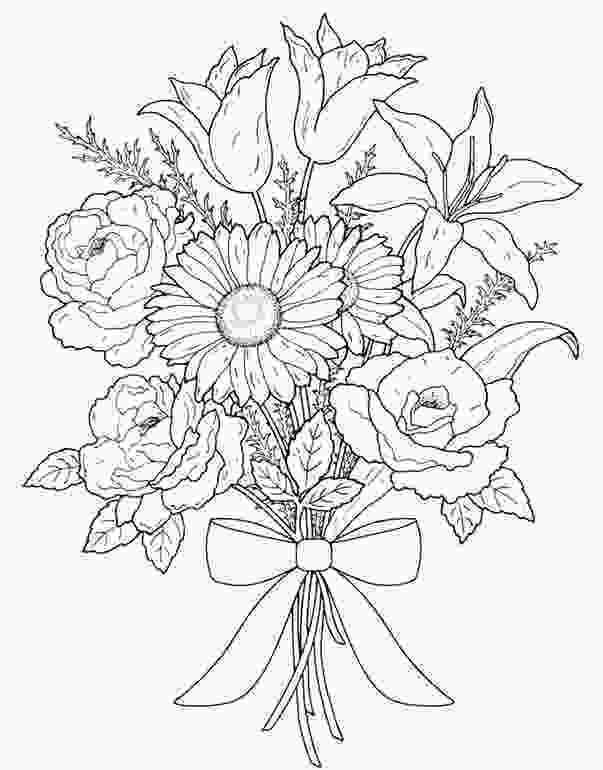 flower nature coloring pages bouquet of flowers 89 nature printable coloring pages