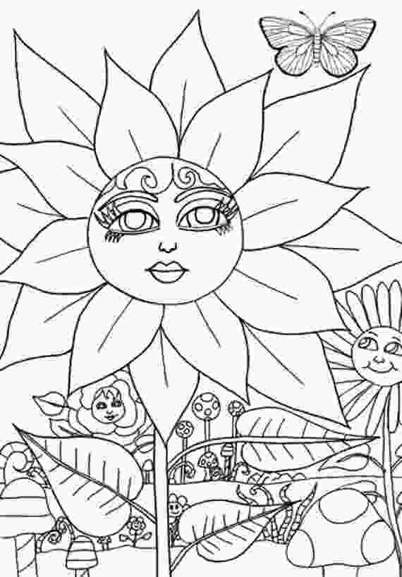 flower nature coloring pages flower magical garden coloring page coloring book page adult