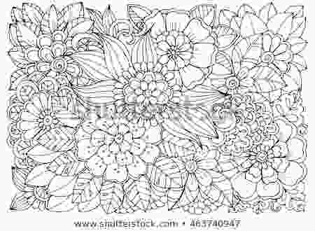 flower nature coloring pages flowers black white coloring doodle art stock vector