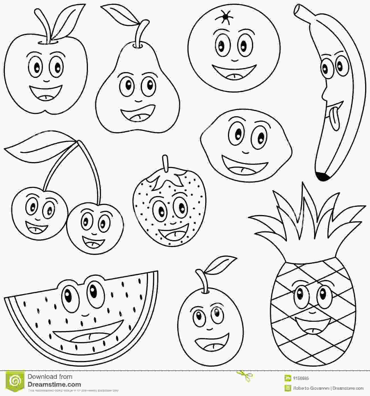 fruit coloring pages coloring fruit for kids stock vector illustration of