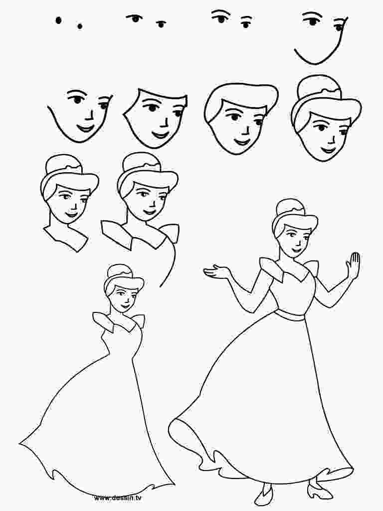 how to draw easy disney characters easy cinderella princess drawing step by step free