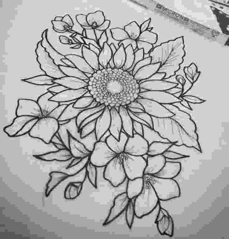 sunflower drawing pin on get inky