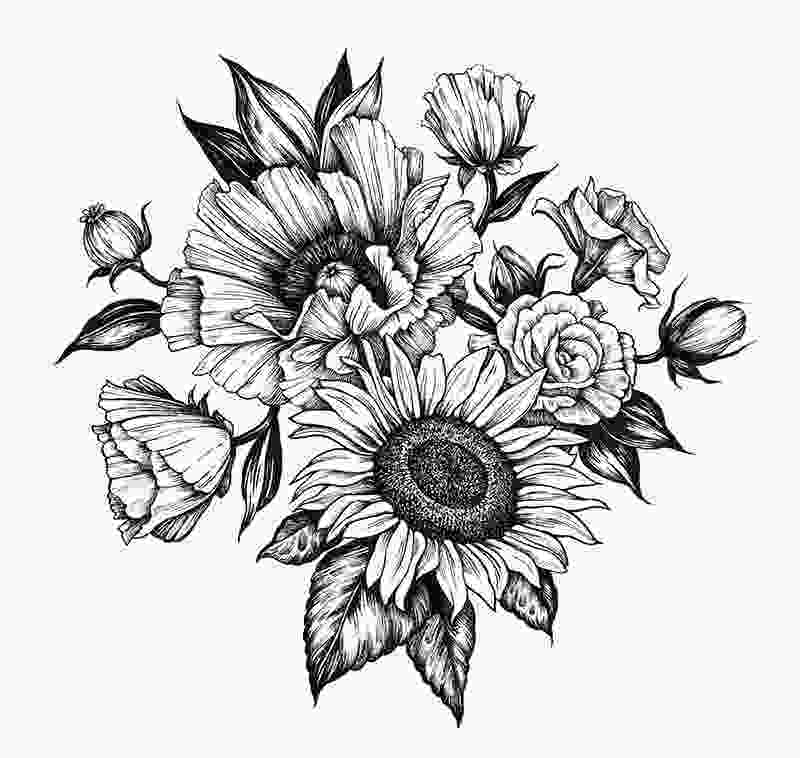 sunflower drawing poppy and sunflower commissioned 2015 tattoo ideas