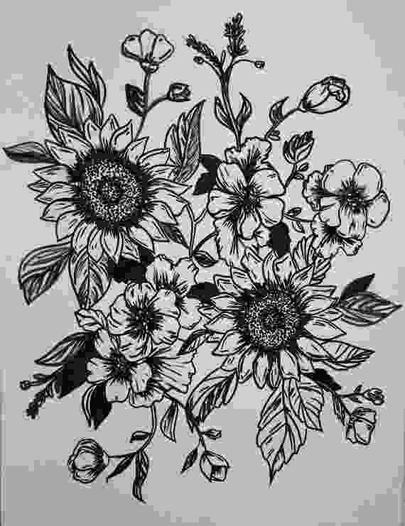 sunflower drawing sunflower line drawing etsy