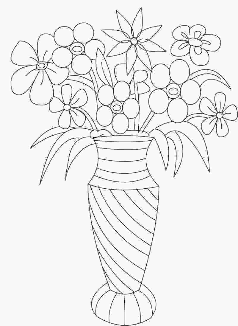 coloring flowers with colored pencils vase and flower template blank loving printable