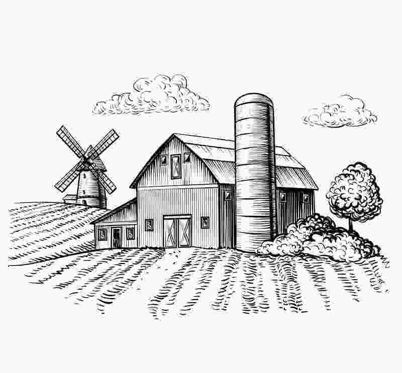 how to draw a farm windmill rural landscape farm barn and windmill sketch stock