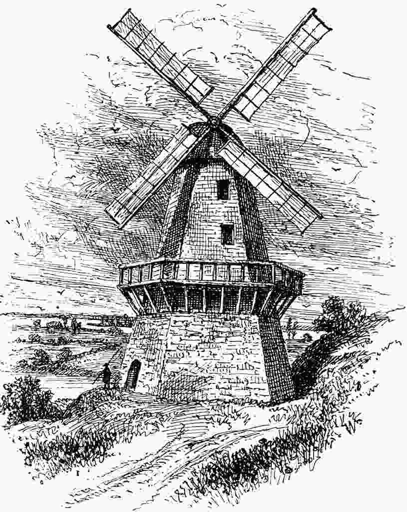 how to draw a farm windmill sketch of old vinetage windmill dutch clip art in 2019