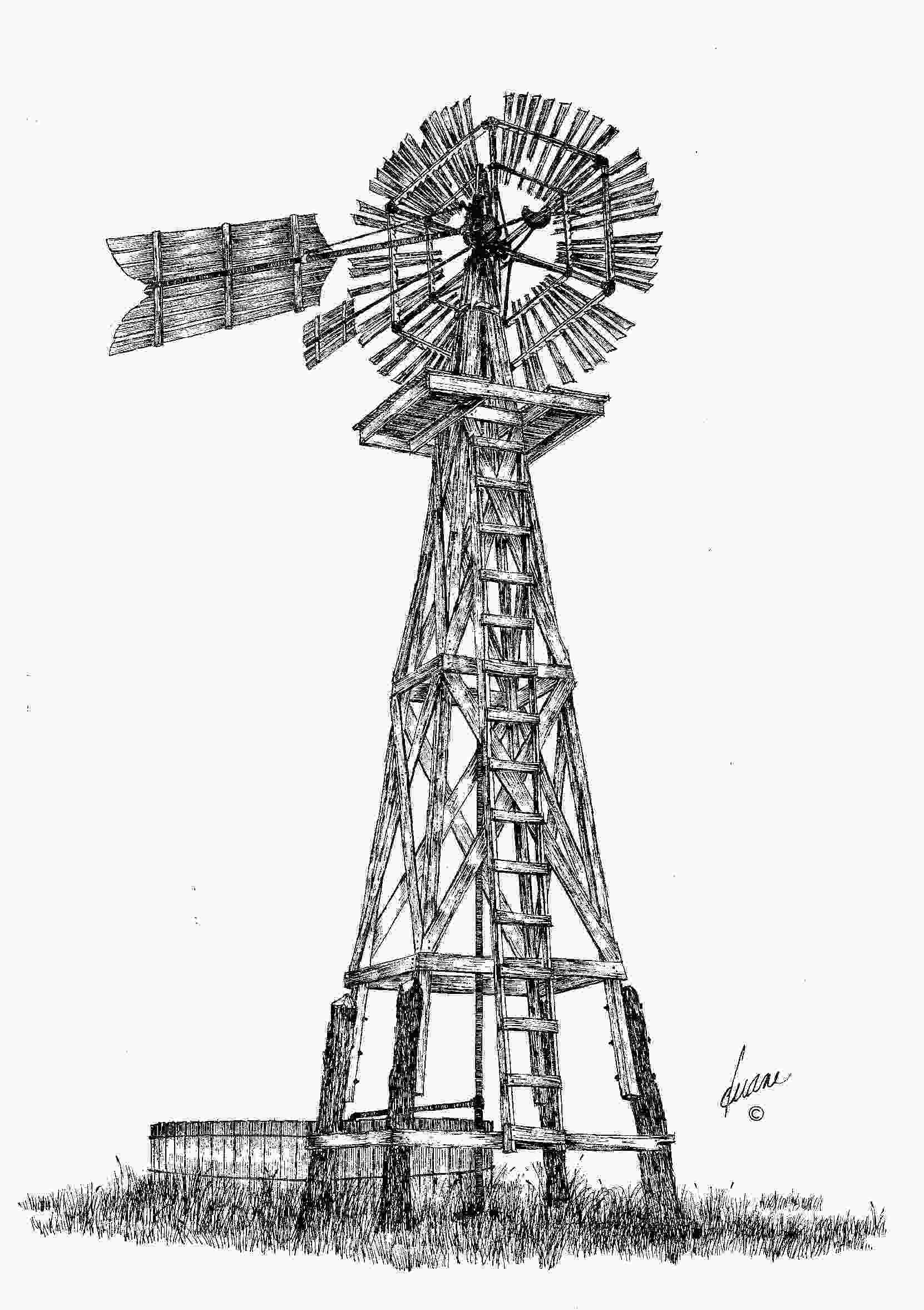 how to draw a farm windmill this is an quoteclipsequot windmill with wooden blades and tail
