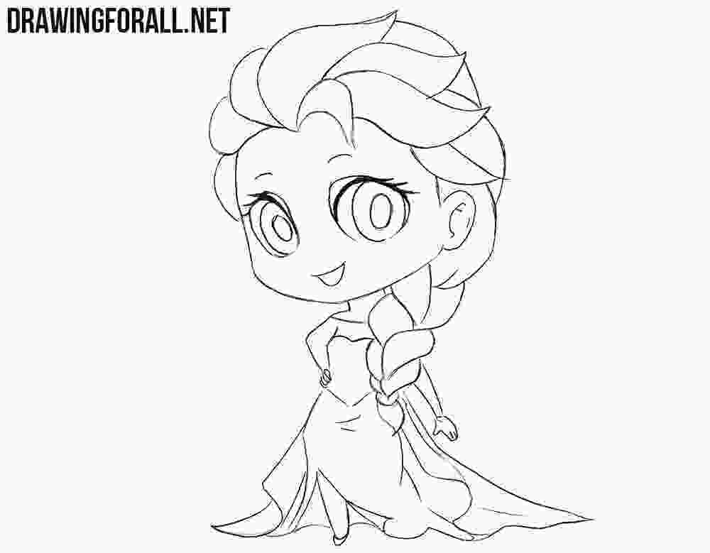 how to draw elsa from frozen easy step by step how to draw chibi elsa drawingforallnet