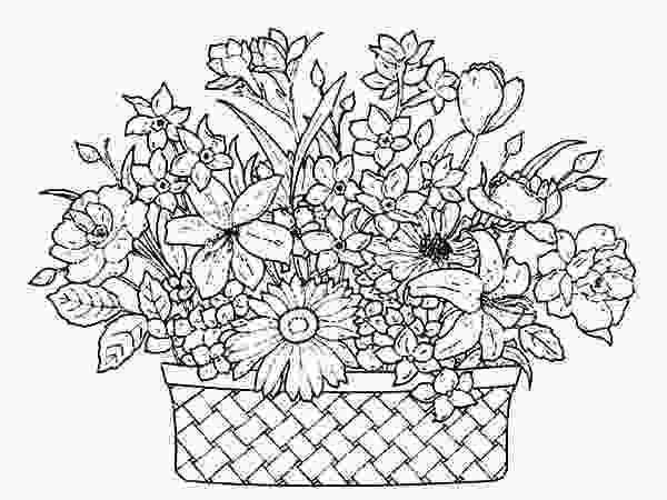 beautiful flower coloring pages a basket of flowers full of beautiful flowers coloring