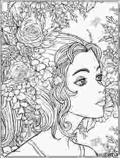 beautiful flower coloring pages a young beautiful girl with a wreath of flowers on her