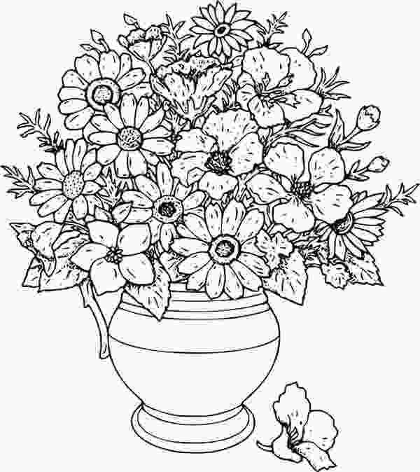 beautiful flower coloring pages beautiful flower vase coloring page printable adult