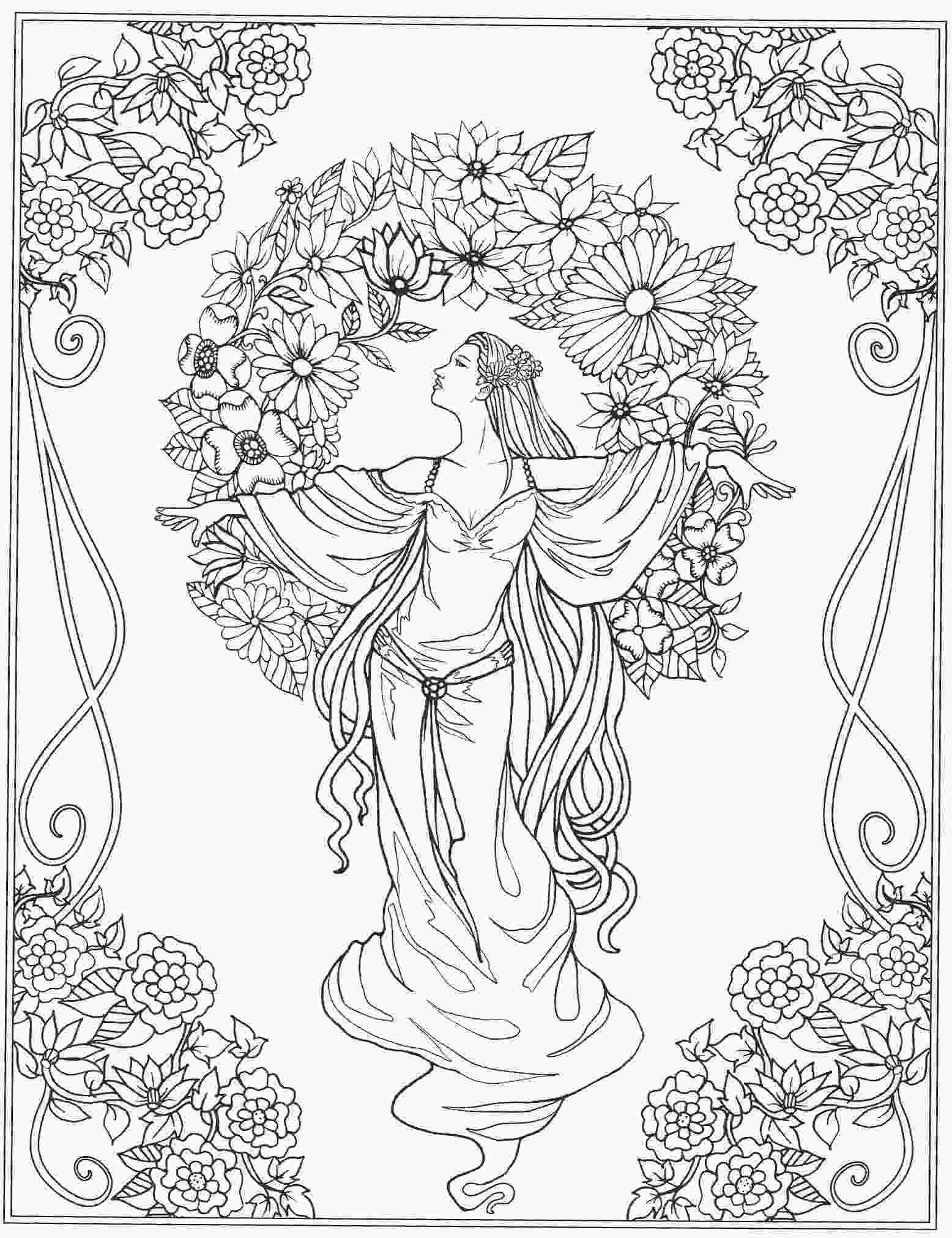 beautiful flower coloring pages beautiful lady amongst flowers coloring page adult