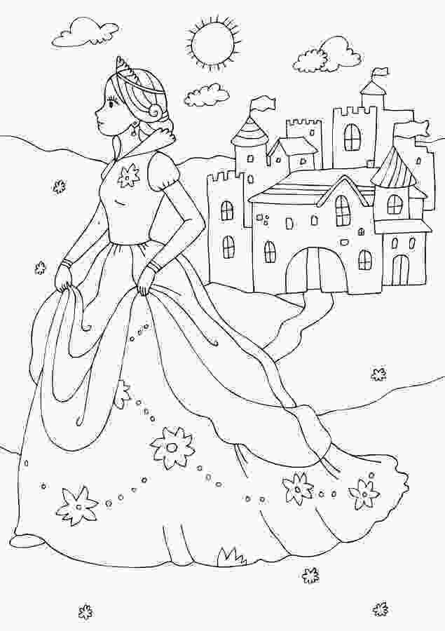 castle coloring page princess and castle coloring page stock illustration illustration of line shapes