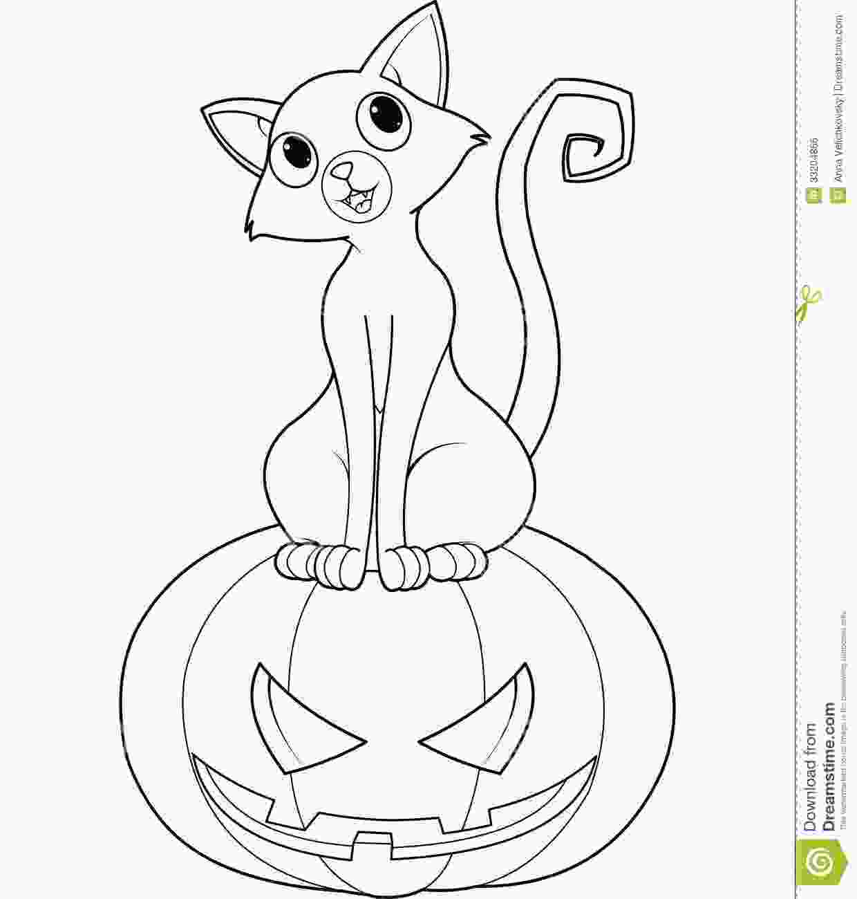 halloween cat coloring pages halloween cat on pumpkin coloring page stock vector