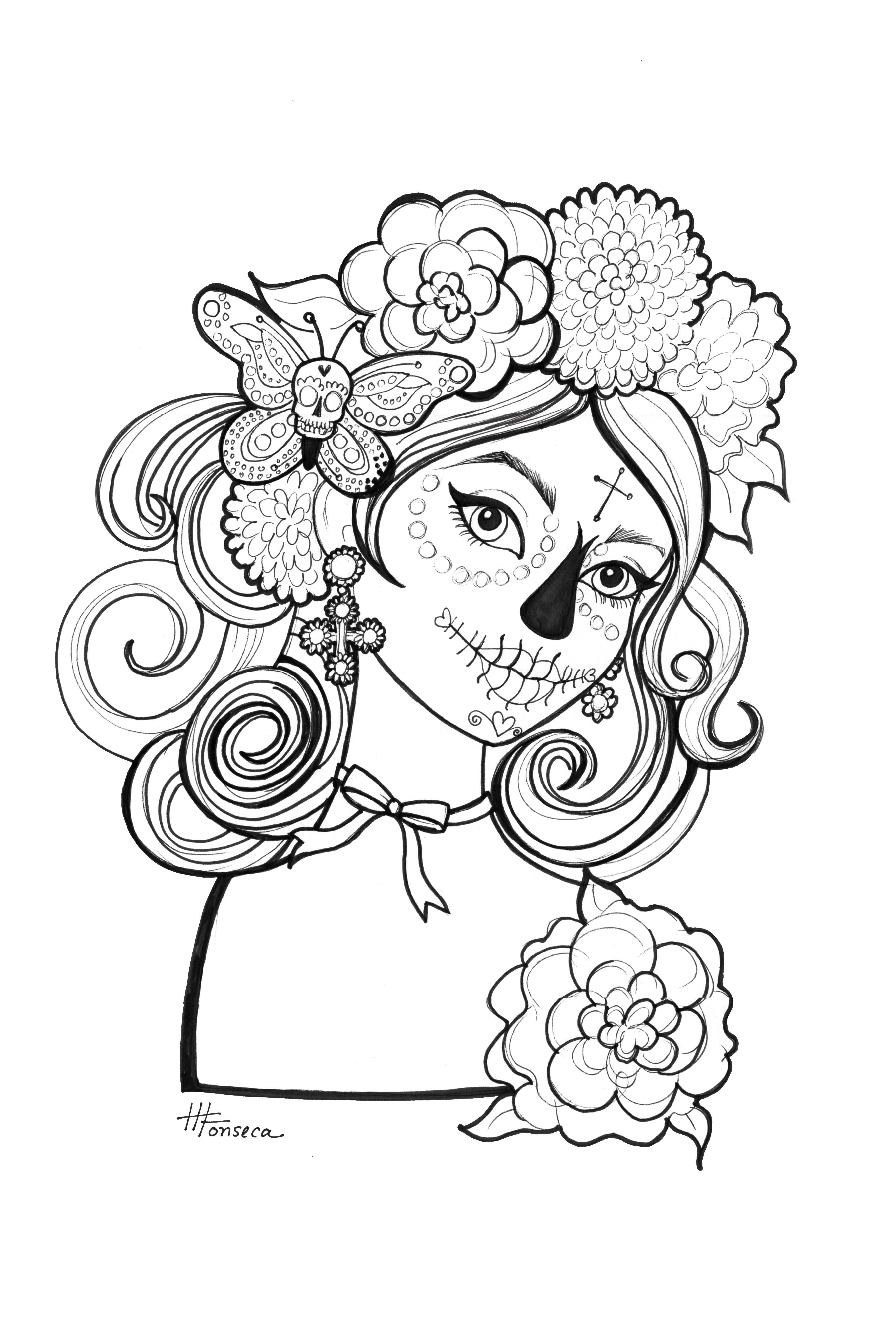 day of the dead coloring page free printable day of the dead coloring pages best coloring of day dead page the