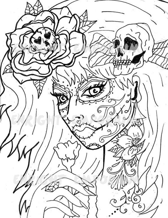 day of the dead coloring page items similar to day of the dead girl coloring page of the dead page coloring day