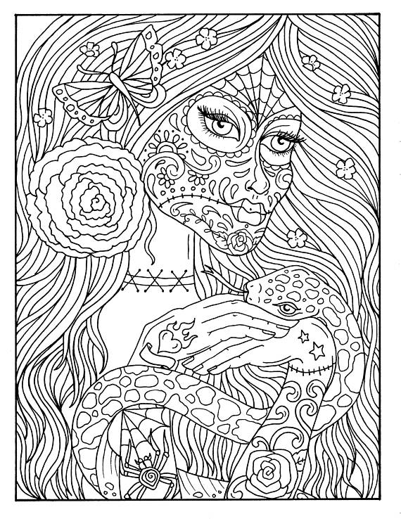 day of the dead coloring sheets 5 pages day of the dead girls digital coloring book coloring dead day coloring the sheets of