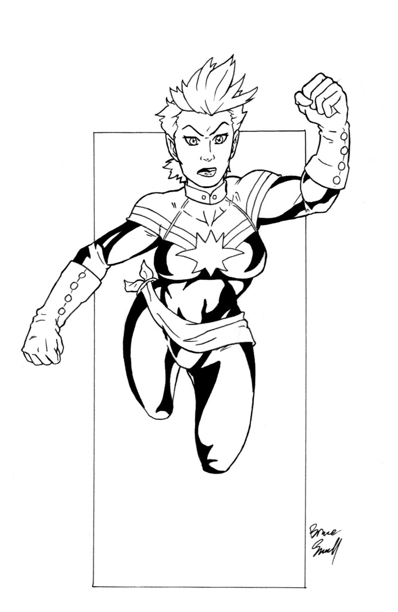 marvel captain marvel coloring pages captain marvel carol danvers inks by ibroussardart on marvel captain marvel coloring pages