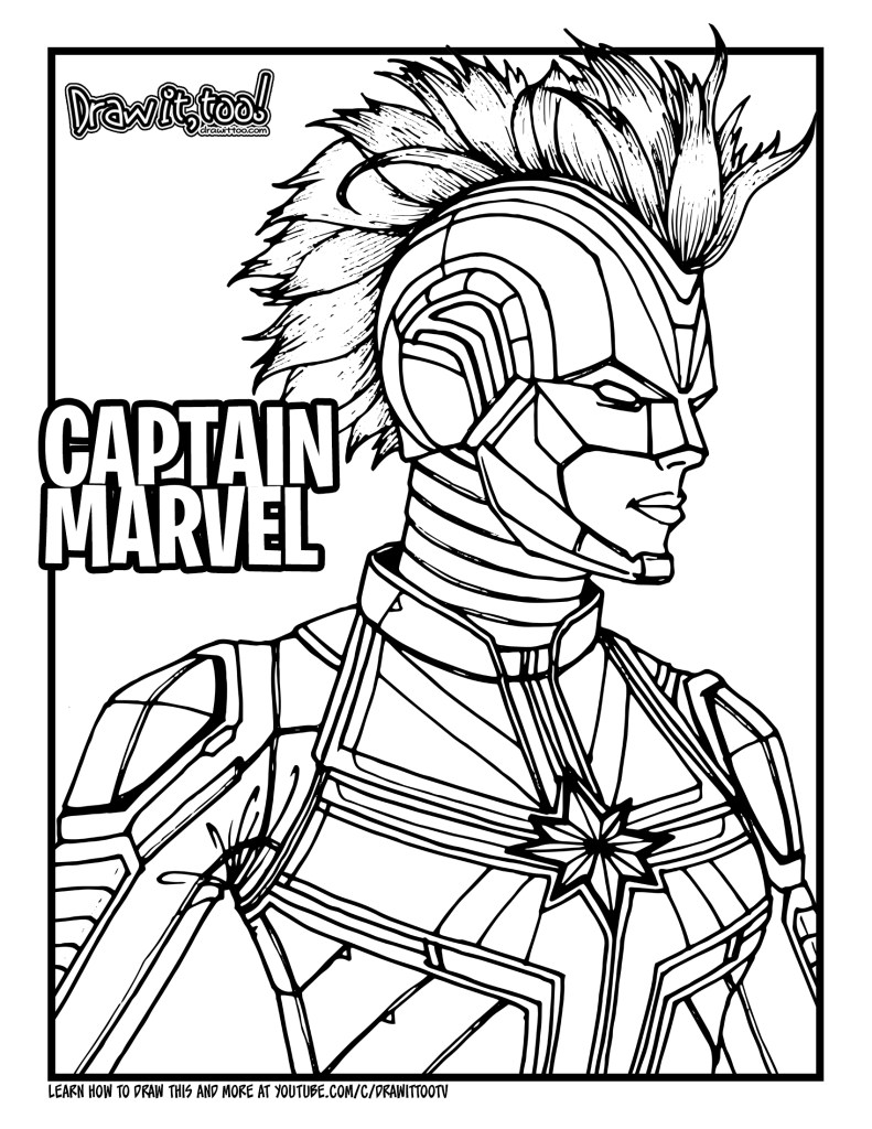 marvel captain marvel coloring pages how to draw captain marvel 2019 movie drawing tutorial coloring marvel pages marvel captain