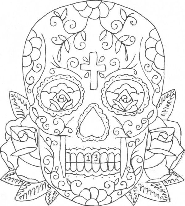 detailed skull coloring pages printable coloring pages of skulls and roses candy skull pages detailed skull coloring