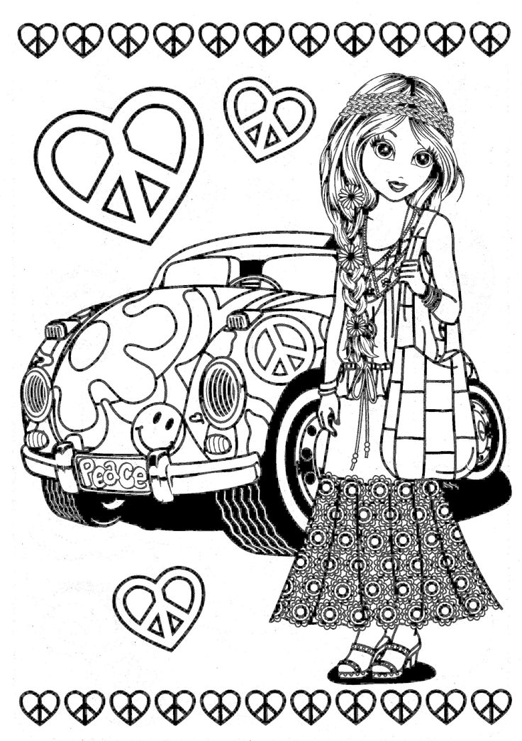 hippie girl coloring pages 70 best hippie art peace signs coloring pages for adults hippie coloring pages girl