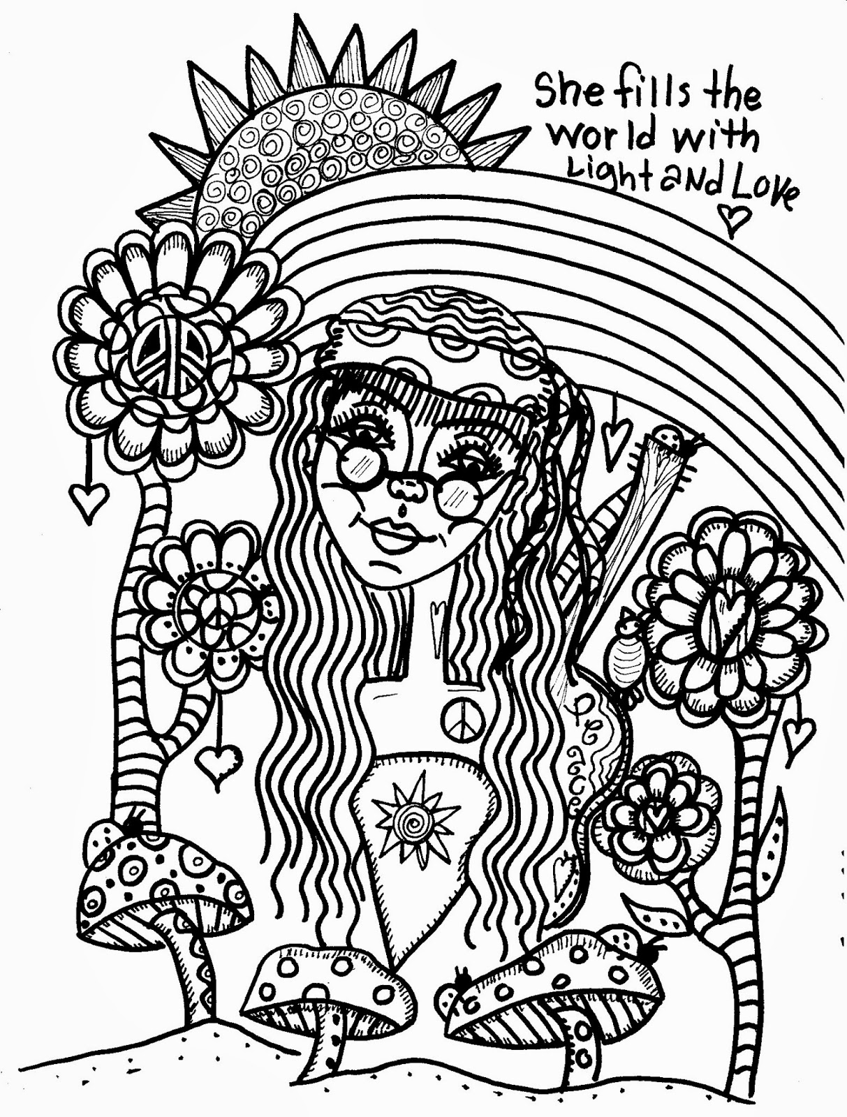 hippie girl coloring pages coloring adult coloring and coloring pages on pinterest girl coloring hippie pages