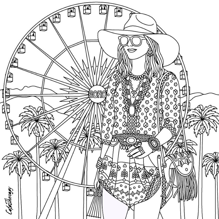 hippie girl coloring pages gorgeous hippie boho girl coloring page hippie art coloring girl pages hippie