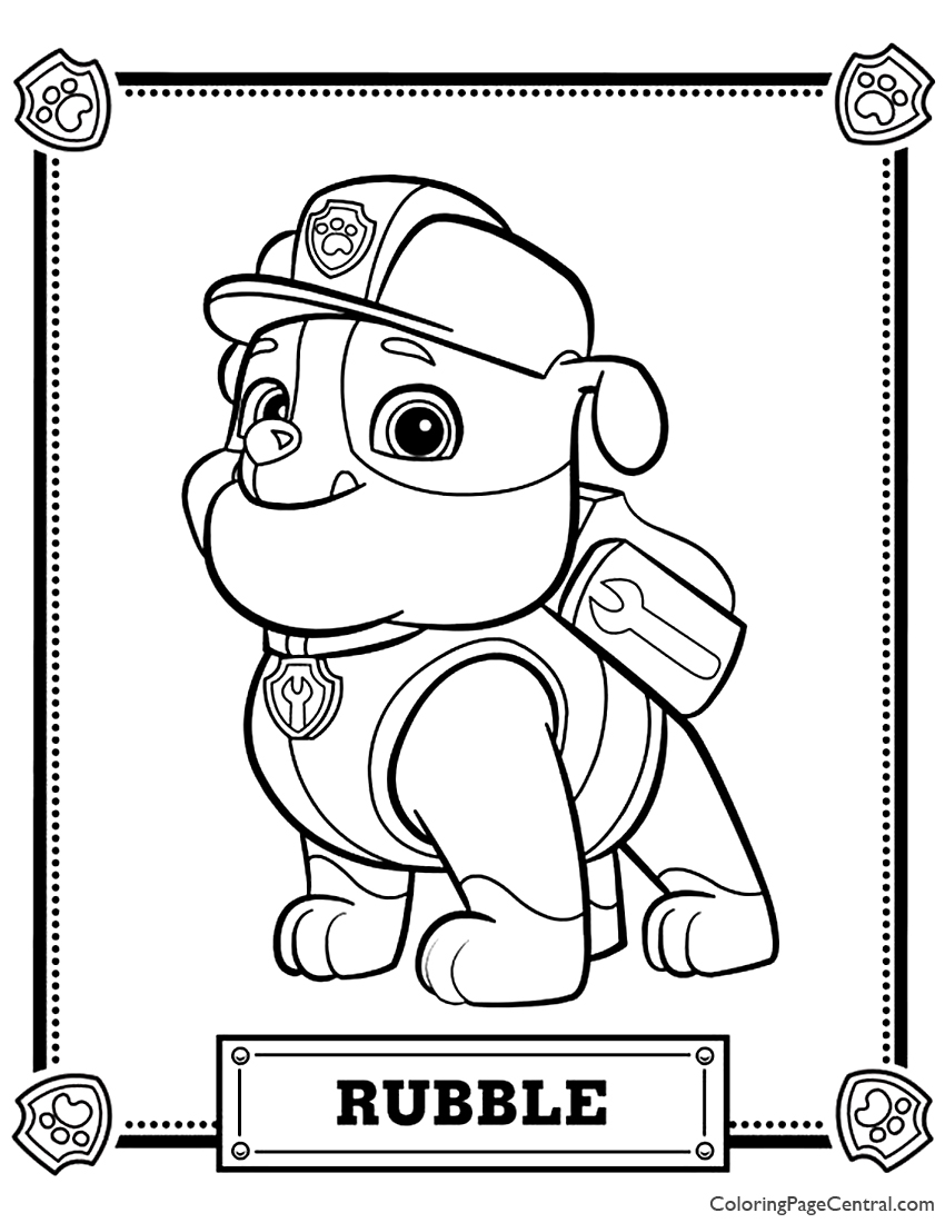 paw patrol coloring rubble paw patrol coloring pages to print getcoloringpagescom patrol rubble paw coloring