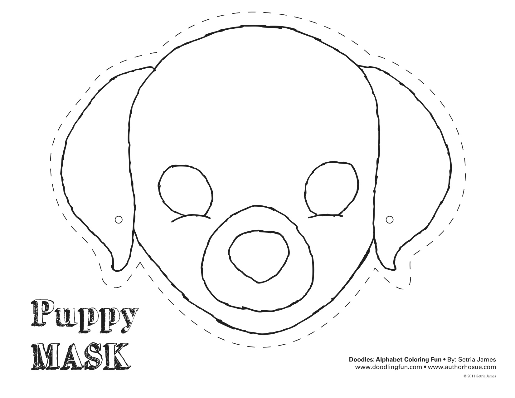 Puppy mask coloring page