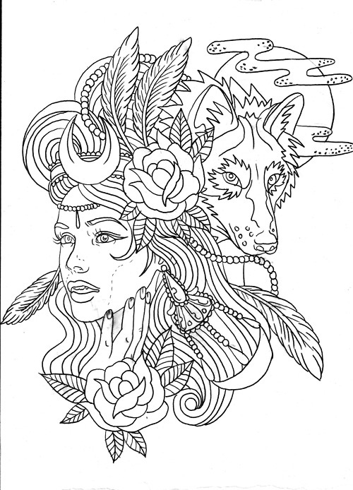 animal girl coloring pages wolf girl tattoos pinterest coloring pages girl animal