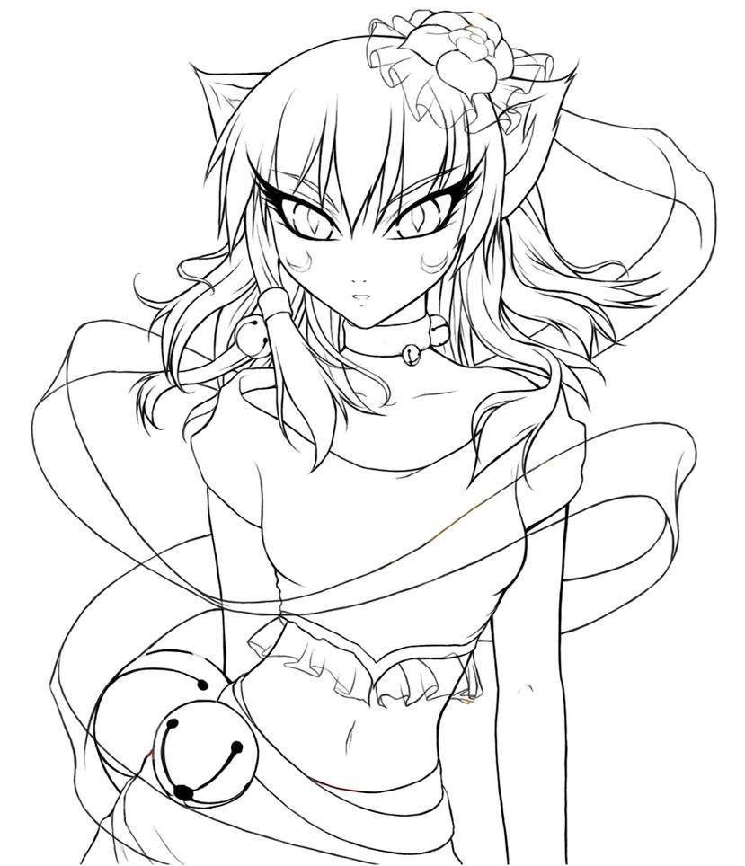 anime cat girl coloring pages cat girl lineart by crysa on deviantart coloring cat girl anime pages