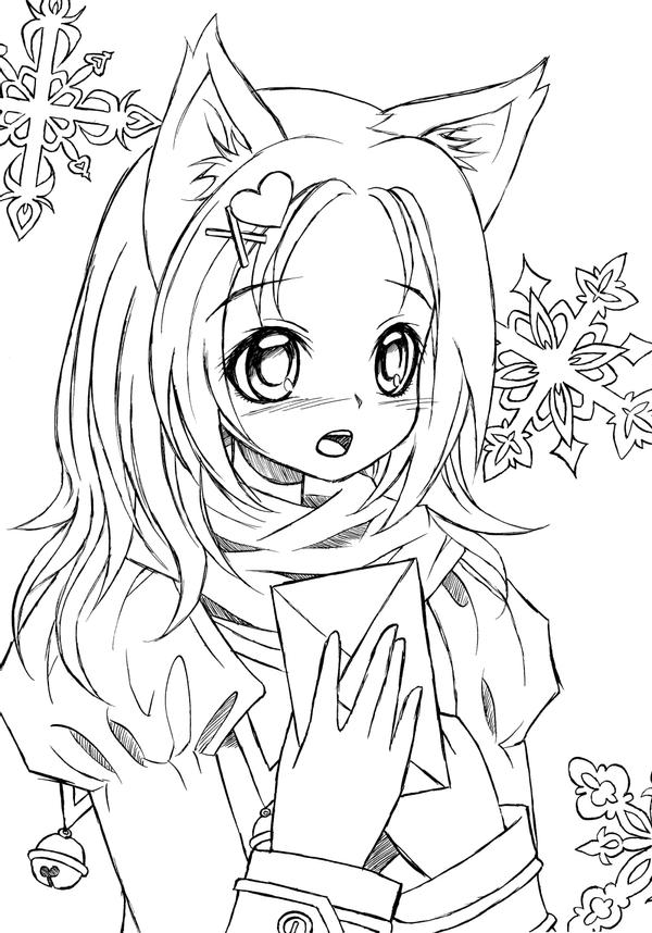 anime cat girl coloring pages catgirl lineart by liadebeaumont on deviantart coloring anime pages cat girl