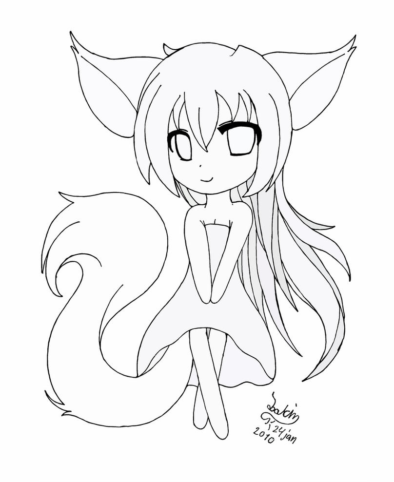 anime cat girl coloring pages chibi fox girl lineart by joakaha on deviantart pages girl coloring cat anime