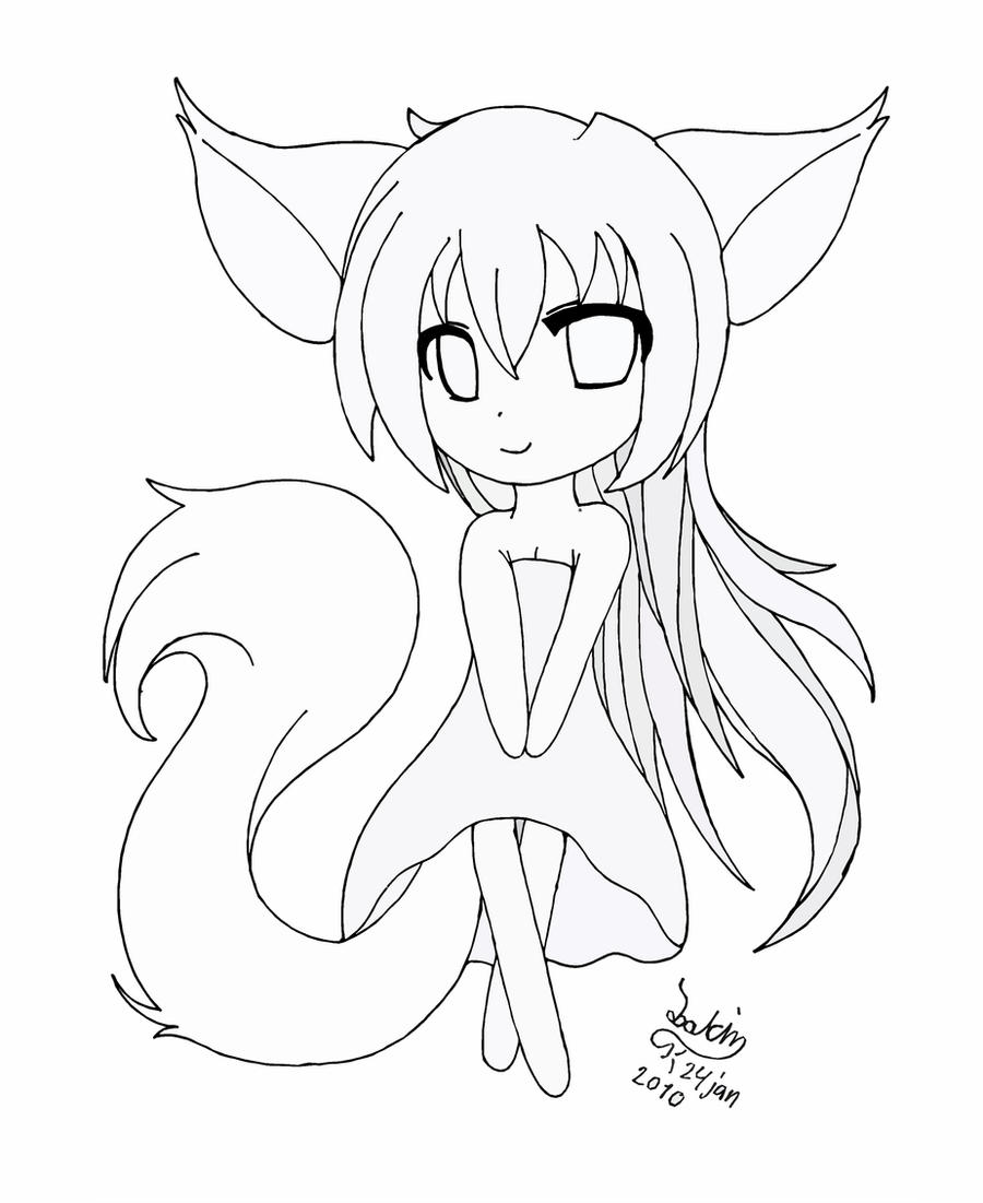 anime fox girl coloring pages anime fox girl 3 lineart by x3na chan on deviantart fox anime girl coloring pages