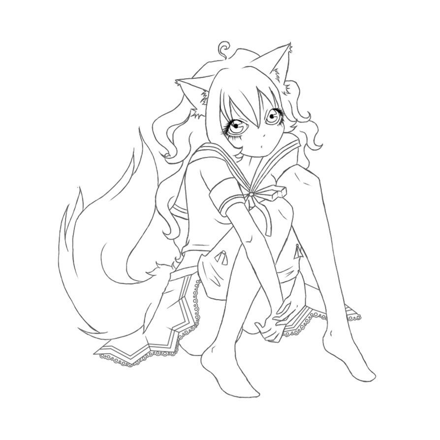 anime fox girl coloring pages cute fox girl kailey by sanaya on deviantart girl pages anime fox coloring