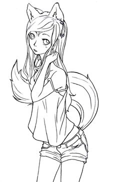 anime fox girl coloring pages oc anime fox girl with kitty by azuriewolf on deviantart girl pages anime coloring fox