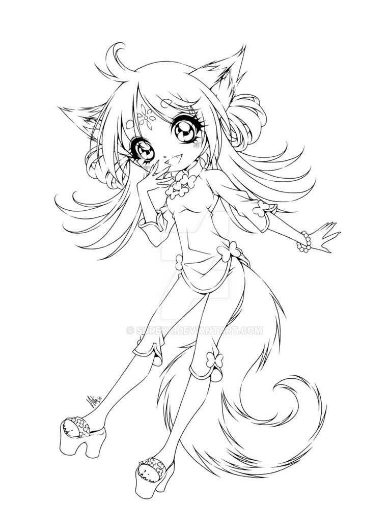 anime fox girl coloring pages poko fox lineart by futurediary on deviantart fox girl coloring anime pages