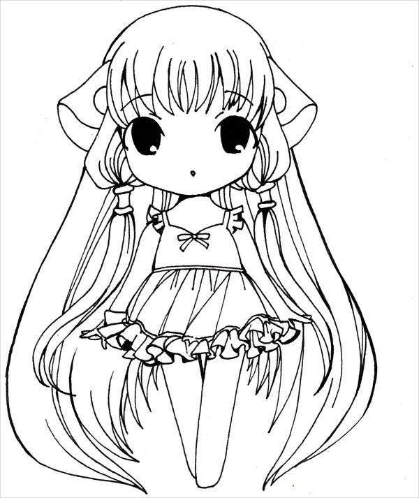 anime kawaii girl coloring pages chibi girl drawing at getdrawings free download anime kawaii coloring pages girl