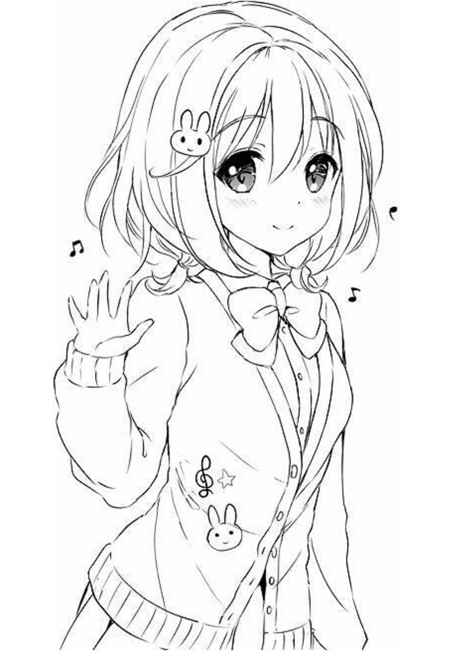 Anime kawaii girl coloring pages
