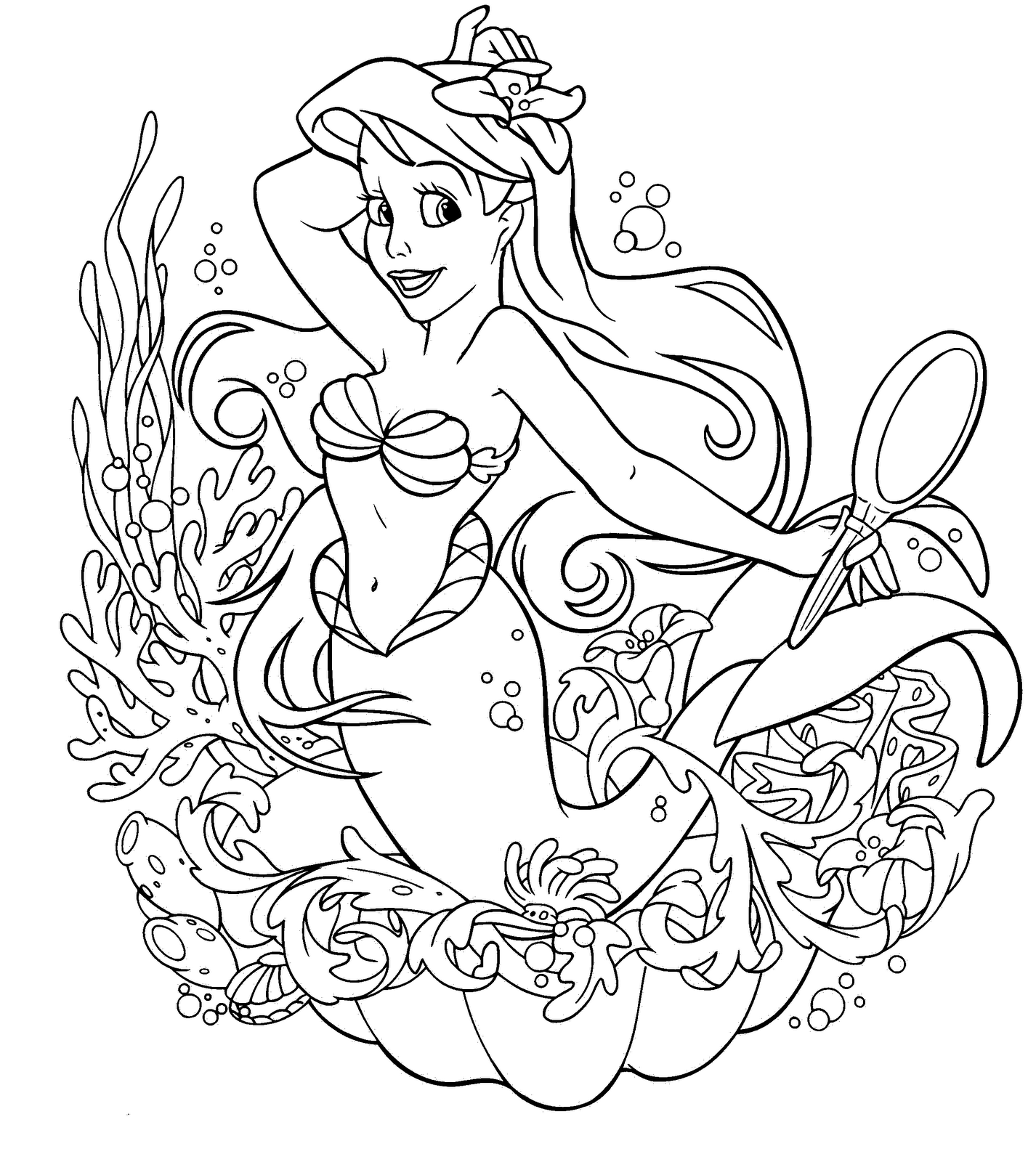 ariel colour in coloring pages ariel the little mermaid free printable in ariel colour