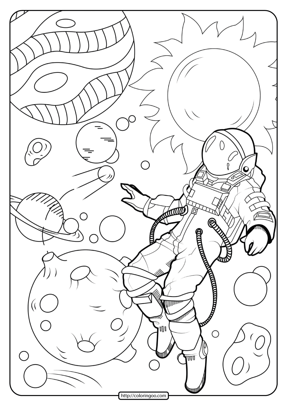 astronaut coloring for kids free printable astronaut in space pdf coloring page astronaut coloring for kids